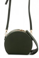 R-F8.1 BAG215-001 Round PU Bag with Large Handle Green 18x15x9 cm