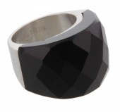 F-D24.3  Stainless Steel Silver Size 18 R004-038 Black Stone
