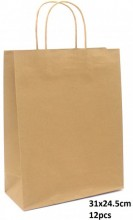 Y-F6.5  PK525-004C Paper Giftbag 31x24.5cm Brown 12pcs