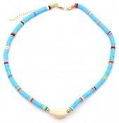 D-D3.1 N1925-009 Choker Surf Beads with Shell 37-43cm Blue
