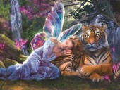 R-C2.2 S486 Diamond Painting Set Elf with Tiger 50x40cm