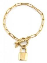 F-D4.1 BN2033-020G S. Steel Bracelet with Lock 19cm Gold