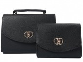 Y-C2.1  BAG419-002C PU Bag Set 2pcs 26.5x19x8.5cm Black