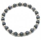 D-B7.2 B2146-014S-D S. Steel with Ceramic Beads Bracelet Grey-Silver