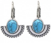 B-E4.4 E2004-007 S. Steel Earrings 15mm Aztek Charm and Stone Silver
