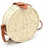 Z-E3.5 BAG323-002 Round Straw Bag with PU Straps Beige 18.5x7 cm