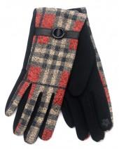 R-L2.2 GLOVE403-072A Checkered Glove Brown-Red