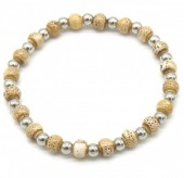 E-A17.2 B2146-014S-C S. Steel with Ceramic Beads Bracelet Brown-Silver