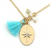 F-F18.4  N532-002G Necklace Northern Star and Tassel Gold