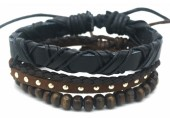 B517-004 Leather Bracelet Set with Wood