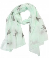 S205-001 Scarf with Leopards and Glitters 70x180cm Green