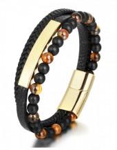 C-B14.1 B022-019-Gold Bracelet S.Steel - Leather - Tigers Eye 21cm