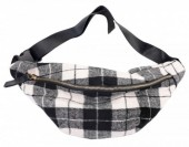 T-G2.3 BAG120-005 Trendy Waist Bag with Checkered Fabric Black-White-Grey