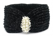R-F3.2 H401-012A Knitted Headband with Pearls Black