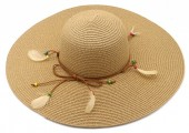 Y-F3.3 HAT504-040A Hat with Feathers Brown