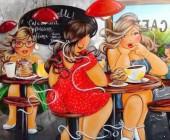 Y-E4.5 X313 Diamond Painting Set Coffee Ladies 40x30cm