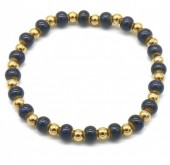 D-A9.2 B2146-014G-A S. Steel with Ceramic Beads Bracelet Blue-Gold