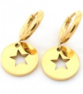 E-E2.2 E410-001 S. Steel Earrings 10mm with Star 12mm Gold