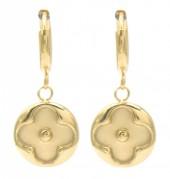 D-C17.3 E2121-015G S. Steel Earrings Clover Coin 1x2.5cm Gold