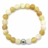 D-F7.6  B2121-001 Cracked Agate Bracelet Yellow