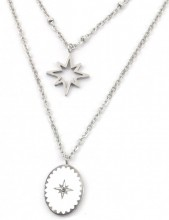 B-F3.1 N2004-001 Layered S. Steel Necklace Northern Stars