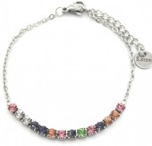 B-F15.1 B301-031S S. Steel Bracelet Multi Color Crystals Silver