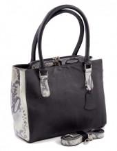 Q-K5.2  BAGE-911 Luxury Leather Bag 35x26cm Black - White