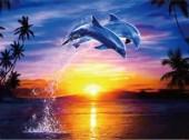 S-J3.3 Q008 Diamond Painting Set Dolphins 30x20cm