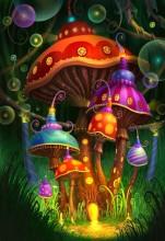 Q-D2.1  Diamond Painting Set Y0171 Mushrooms Round Stones 50x40cm