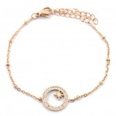 D-E18.1  B2020-002RG S. Steel Bracelet 13mm Northern Star Crystals Rose Gold