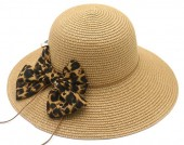 Z-D2.1 HAT504-036B Hat with Leopard Bow Brown