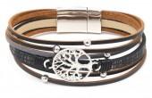 B-C21.1 B104-003 Leather Bracelet with Tree of Life Black