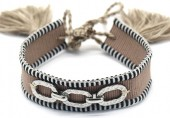 A-B3.2 B2040-005SA Woven Bracelet with S. Steel Chain Brown-Silver