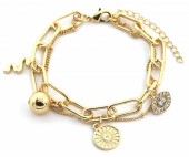 C-D6.3  B2019-010G Layered Chain Bracelet with Charms Gold