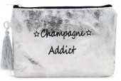BAG520-001B Clutch With Tassel Champagne Addict 18.5x13cm Silver