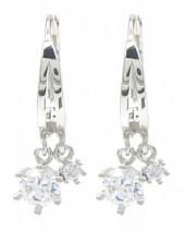 B-A7.4 SE104-537 925S Silver Earrings 10x16cmm with Zirconia