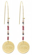 D-C18.2 E010-034G S. Steel Earrings with Beads and Coin 5.5cm