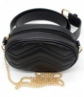 Y-D2.5 BAG212-002 Combination Bum-Shoulder Bag incl Belt and Metal Should Strap 19x12x7cm Black