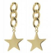 D-B6.3 E010-007G S. Steel Earrings Chain with Star 3.5x1.5cm