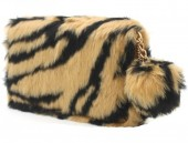 Q-K8.2 WA117-005 Soft Fake Fur Wallet with Pompon 19x10cm Tiger Print Brown