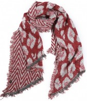 Y-F6.4  SCARF408-006B Geometric Leopard with Glitters 60x190cm Red