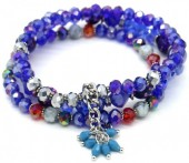 X-C6.2 B514-008 Layered Bracelet Facet Glass Beads Blue