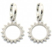 A-D9.1 E2033-007S S. Steel 10mm Earring with 15mm Open Charm Silver