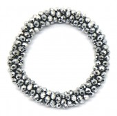 B-C14.1 B008-001F Bracelet with Faceted Glass Beads Silver