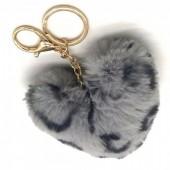 X-K2.2 KY414-001E Fluffy Keychain 10cm Heart Leopard Grey