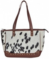 T-A3.2 BAG1154 Leather Bag with Studs and Cowhide Mixed Colors 38x30x12cm