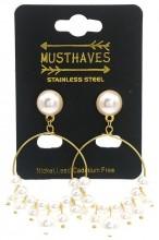 B-B9.2  E012-006G S. Steel Earrings with Pearls 5.5x3cm