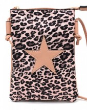 T-A4.1 BAG326-002 PU Festival Crossbody Bag Leopard with Star 20x15cm Pink