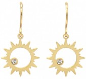 B-D18.5  E2004-002G S. Steel Earrings Sun 14mm Gold