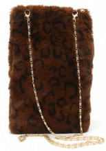 T-P5.2 BAG005-001 Pouch with  Chain and Animal Print 21x14cm Brown
